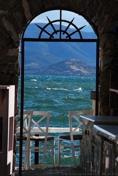 Table with a view in Nafplio , Greece