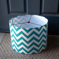 Drum Lamp Shade True Turquoise Chevron / By Elladeandesign On Etsy