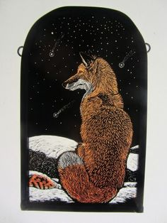 Winter Fox - 9.8 x 16cm - £170 SOLD stained glass artist, Tamsin Abbott, tamsinabbott.co.uk