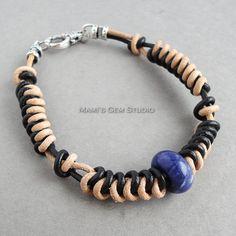 Black & Tan Braided Leather Bracelet with Blue Sodalite Stone Accent, Mens Leather Bracelet, Unisex, Handmade Braided Leather, Leather Cord, Leather Men, Bracelets For Men, Beaded Bracelets, Semi Precious Gemstones, Antique Silver, Unisex, Men's Jewelry