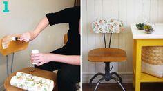 chaise vintage bois dossier papier peint fleuri
