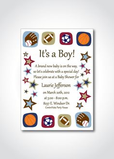 Sports theme baby shower printable invitation  by SNicoleDesigns, $10.00