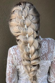 greek wedding hairstyles long blonde hair with unique braid decorated wirh pearls samirasjewelry - August 18 2019 at Long Face Hairstyles, Diy Hairstyles, Wedding Hairstyles, Greek Hairstyles, Stylish Hairstyles, Curly Haircuts, Hairstyle Ideas, Unique Braided Hairstyles, Wedding Updo