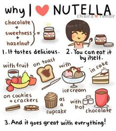 I love Nutella! For those who are unaware, Nutella is a chocolatey hazelnut spread also in Ferrero Rochers. It tastes amazing with pita chips. And just curious: how do you pronounce Nutella? Nuh-tella, new-tella, or noo-tella? Café Chocolate, Chocolate Cupcakes, Nutella Store, Nutella Cafe, Cream Crackers, Cracker Cookies, Chibird, Ice Cream Cookies, Love Food