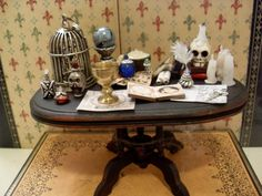 OOAK Dollhouse Miniature Wood Table Witch Sorceress Spell Potion Skull Candles Birdcage Goblet Dagger