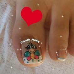 Little Girl Nails, Girls Nails, Cute Toe Nails, Cute Toes, Glow Nails, Pedicure Nail Art, Bee Design, Beautiful Nail Designs, Christmas Nails