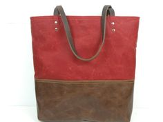 Urban Tote in Red Waxed Canvas and distressed by RedStaggerwing, $110.00