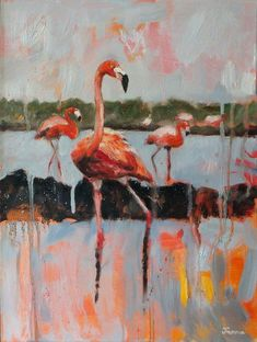 Janna Prinsloo | Graceful Splendour (2020) - painting of flamingoes available for sale | StateoftheART White Shadow Box, Shadow Box Frames, Flamingo, Cool Art, Contemporary Art, Original Paintings, Birds, Inspired, Gallery