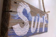 Surf Decor Wood Beach Sign on Distressed Reclaimed Wood Blue Tropical Surfer Boy Girl Coastal Surf Nursery Baby Birthday Party Kids Room. $22.00, via Etsy.
