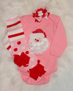 Santa Baby applique bodysuit - onesie - Christmas leg warmers - Santa hair bow - Christmas infant set - Baby Girl Christmas outfit by PunkersNPie on Etsy