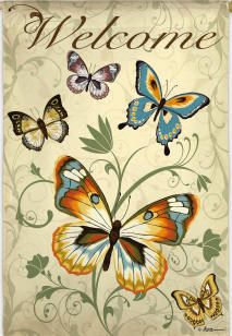 ELEGANT BUTTERFLY WELCOME Evergreen Decorative Garden Flag