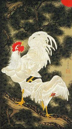 Ito Jakuchu 動植綵絵 Doshoku Sai-e,Title:老松白鶏図 Rosho Hakkei-zu(Old Pine Tree, White Rooster and Hen) c.1757 – 1760