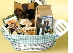 Breakfast Gift Baskets. Great gift for New Parents, New Neighbors, Housewarming, Thank You, Thinking of You! Pancake Gift Baskets - Comes with Pancake Mix, Grits, Syrup, Jam or Jelly, Oatmeal, Granola,  Coffee, Coffee Mugs, Pancake Mixing Bowl, 4 Plates, 4 Spoons, 4 Forks, 1 Spatula or Kitchen Selectives Over Easy Pancake Express or Presto Electric Griddle with Removable Handles OH Baby Baby Boutique By Kavalon