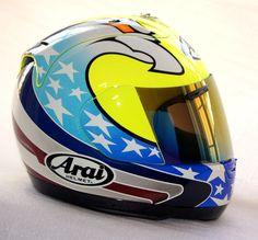Racing Helmets, Motorcycle Helmets, Ayrton Senna Helmet, Arai Helmets, Custom Airbrushing, Custom Helmets, Cycling Helmet, Helmet Design, Riding Gear
