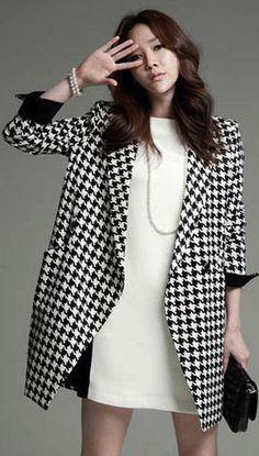 European Style Plaid Long Sleeve Coat for Woman