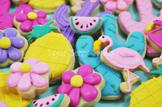 Tropical Assortment decorated Sugar Cookies  1 by sugarberrysweets