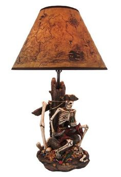 Pirate Skeleton W/ Treasure Table Lamp W/ Shade by Things2Die4. $39.99. This awesome table lamp a shipwrecked pirate skeleton atop a treasure chest, with timbers from the ship acting as the lamp base. Measuring 21 inches tall, including the ancient map print 13 inch diameter shade, the lamp is a wonderful decorative accent for pirate lovers. It uses regular sized light bulbs up to 60 watts.