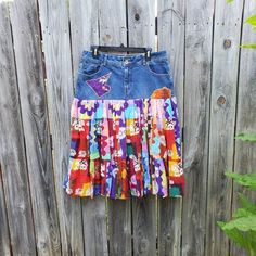 Denim and African Fabric Patch Work Wrap Skirt-Upcycled-Dress-Knee Length-Handmade
