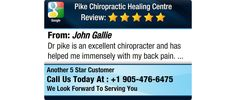 Dr pike is an excellent chiropracter and has helped me immensely with my back pain.