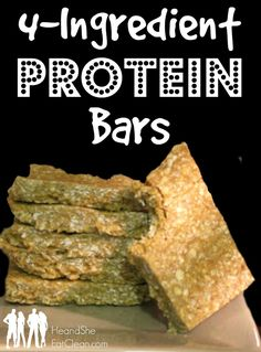 Looking for the perfect grab-and-go breakfast for your busy life? Try these FOUR Ingredient Protein Bars   He and She Eat Clean