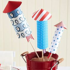 Make this adorable rocket centerpiece for your 4th of July celebration! More easy 4th of July decorations: http://www.bhg.com/holidays/july-4th/decorating/easy-diy-decorations-for-the-4th-of-july/?socsrc=bhgpin061613rockets