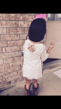 The back of her lace dress  Kids fashion