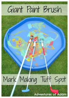 Giant Paint Brush Mark Making Tuff Spot. Get your prescholer mark making on a grand scale. Great for gross motor skills Eyfs Activities, Motor Skills Activities, Art Activities For Kids, Gross Motor Skills, Creative Activities, Preschool Art, Family Activities, Outdoor Activities, Toddler Development