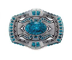 Belt buckle, Lee A. Yazzie, 2000. Lone Mountain turquoise, sterling silver. Length, 2⅜ in. Collection of Gene and Ann Waddell. Photo © Kiyoshi Togashi.