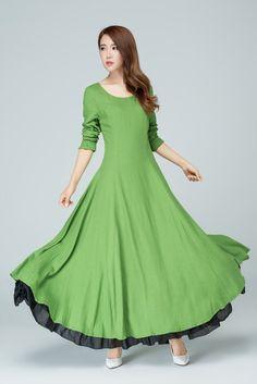 green linen dress, long sleeves dress, prom dress, romantic dress, maxi dress, fit and flare dress, women dresses, fall dress1581