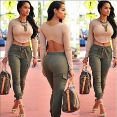 Buy Women Casual Outfit 2 Piece Set Crop Top Blouse Shirt Long Pants at Wish - Shopping Made Fun Look Fashion, Girl Fashion, Autumn Fashion, Fashion Outfits, Womens Fashion, Ladies Fashion, Fashion Design, Fall Outfits, Summer Outfits