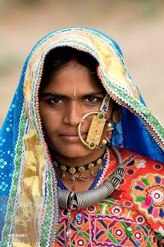 Ludiya village of the Meghwal tribe of the Kutch, Meghwal women always wear colorful embroideries as well as heavy jewellery made of gold and silver