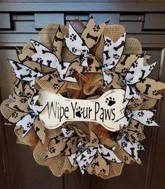 Wreaths Crafts, Burlap Wreaths, Deco Mesh Wreaths, Dog Crafts, Adult Crafts, Animal Crafts, Spring Wreaths, Christmas Wreaths, Xmas
