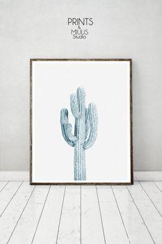 Cactus Plant Light Blue Print Cactus Print by PrintsMiuusStudio