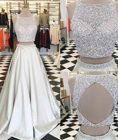 New Arrival unique round neck sequin prom dress, two pieces long evening dress