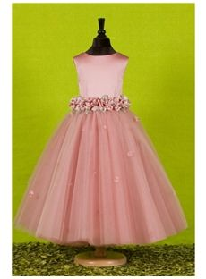 $83.00 I think this is my favorite so far. This won't be the color, though. Attractive Ball Gown Ankle-length Round-neck Flowers Embellishing Flower Girl Dress & unusual Flower Girl Dresses