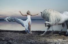 Pferde Blond Mädchen Kleid Mädchens Tiere