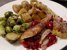 Crisp-Tender Roast Duck with Cherry-Rosemary Sauce Recipe : Ted Allen : Food Network