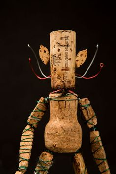 El Corkmen de arte con alambre Wine Tree Escultura Arte corcho natural,