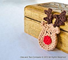 Reindeer Applique PDF Crochet Pattern by oneandtwocompany