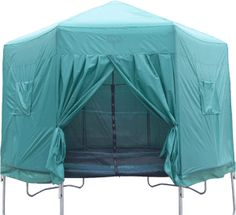 Extend the life & use of your trampoline. Keep the leaves, bugs, & rain out. Full jump capability still intact plus a playhouse, clubhouse, camp tent, etc. I want one of these for our trampoline! 14ft Round Trampoline Tent and Play Den