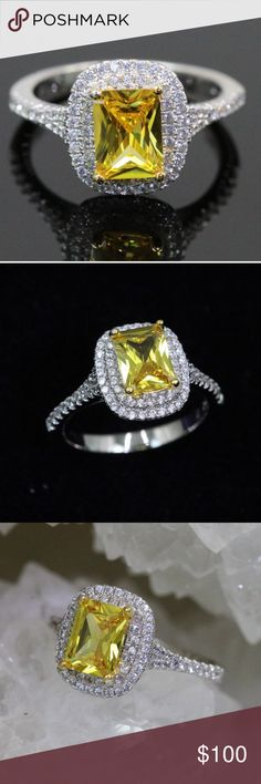 SUNNY JEM SUNNY DAY IS 5AAAAA ITALIAN YELLOW AND CLEAR CZ THE ROWS SURROUNDING MAIN STONE IS STUNNING SHE MEASURES APPROX 6MM X 9MM LUXURY 18K WHITE GOLD PLATING RETAIL IS $676 includes black velvet gift box ALPHA JEWELERS  Jewelry Rings