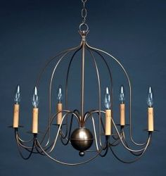 Colonial Bird Cage Chandelier in Antique Copper to match kitchen