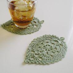 葉っぱモチーフのかぎ編みコースター(同色2枚set)ミントグリーン