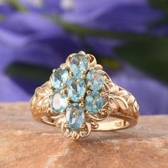 Madagascar Paraiba Apatite Ring in 14K Yellow Gold Overlay Sterling Silver (Nickel Free)