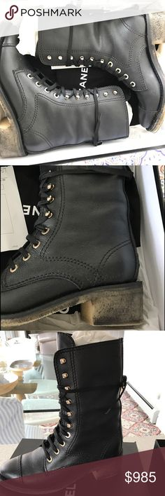 NWOT AUTHENTIC Chanel Boots Stunning Chanel Combat boots in black. Worn for half of a day. Comes with box. From FW16. Absolutely stunning. Heels are meant to look worn. CHANEL Shoes