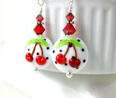 Cherry Earrings Red Black White Earrings by GlassRiverJewelry
