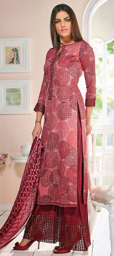 424491: The crazy bauble circle prints are back and they look absolutely stylish! Have a look.   #SalwarKameez #Partywear #Majenta #Women #Fashion #onlineshopping #Prints #geometric