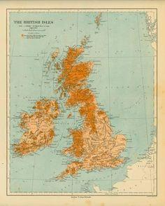 Map of the British Isles Kunstdruk