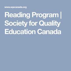 Reading Program   Society for Quality Education Canada