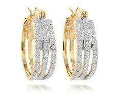 ½ Carat Diamond 14K Gold Over Sterling Silver Triple Band Hoop Earrings
